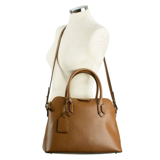 Lauren By Ralph Lauren Tate Dome Tan Leather Satchel 92343b61bc