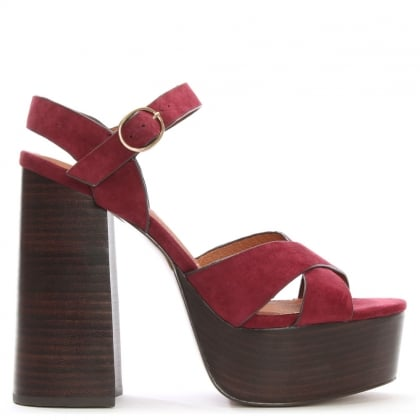 Lauren Purple Suede Two Part Platform Sandals