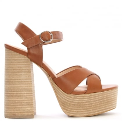 Lauren Tan Leather Two Part Platform Sandals