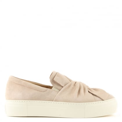 Laurestine Beige Suede Knotted Slip On Trainer