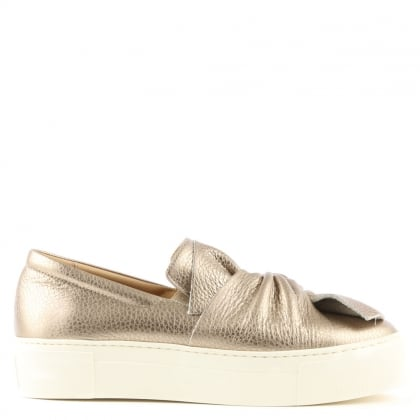 Laurestine Pewter Metallic Leather Knotted Slip On Trainer