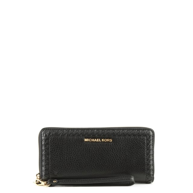 8d2e8e0eead023 Michael Kors Lauryn Continental Black Leather Wristlet Wallet