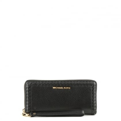 Lauryn Continental Black Leather Wristlet Wallet