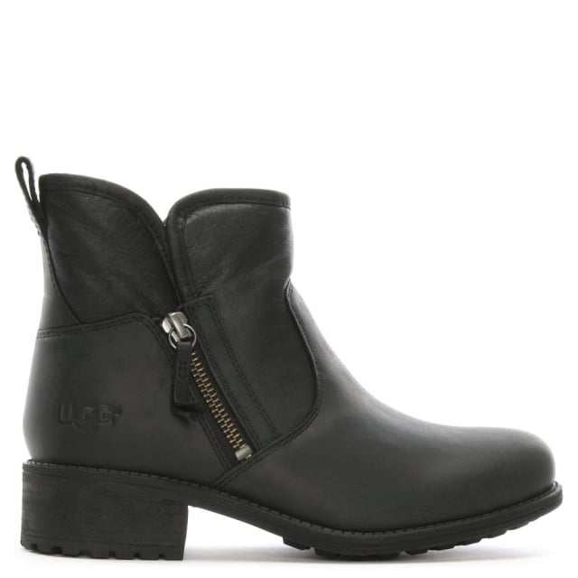 Lavelle II Black Leather Zipper Ankle Boots