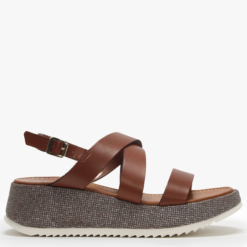 Lawley Sandals Glitter Strappy Sole Leather Tan LqVGSUMpz