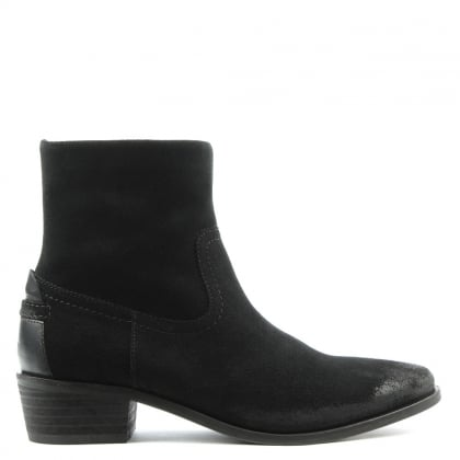 Layla Black Suede Western Block Heel Calf Boot