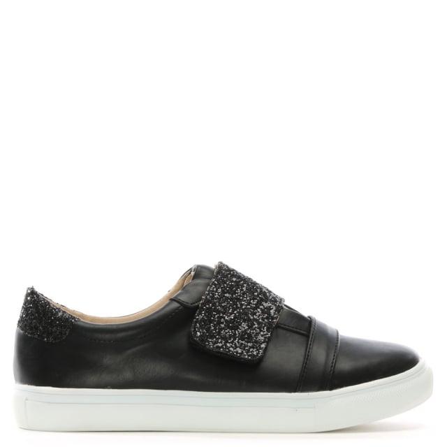 DF By Daniel Laytham Black Faux Leather & Glitter Sneakers