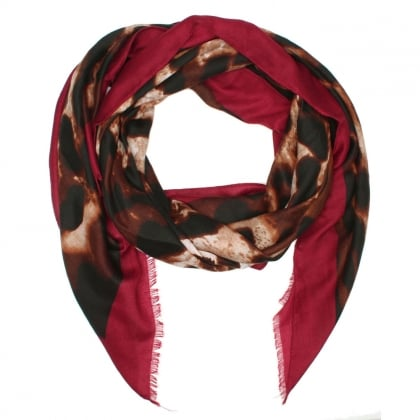 Leara Burgundy Trim Animal Print Scarf