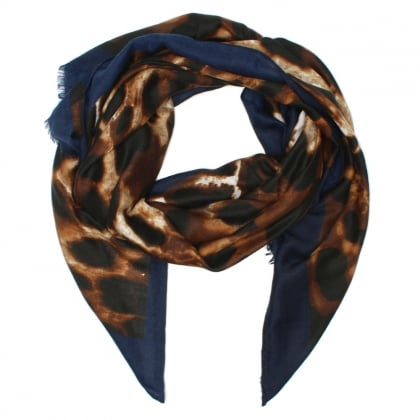 Leara Navy Trim Animal Print Scarf