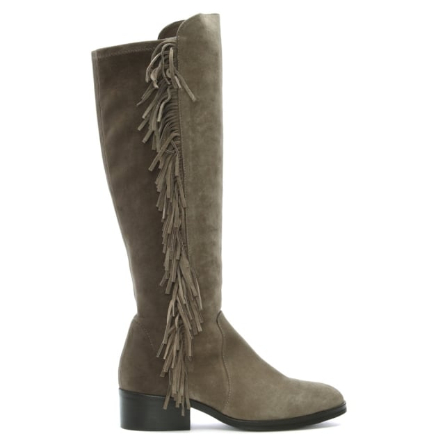 pedro miralles legacy taupe suede fringed knee boots