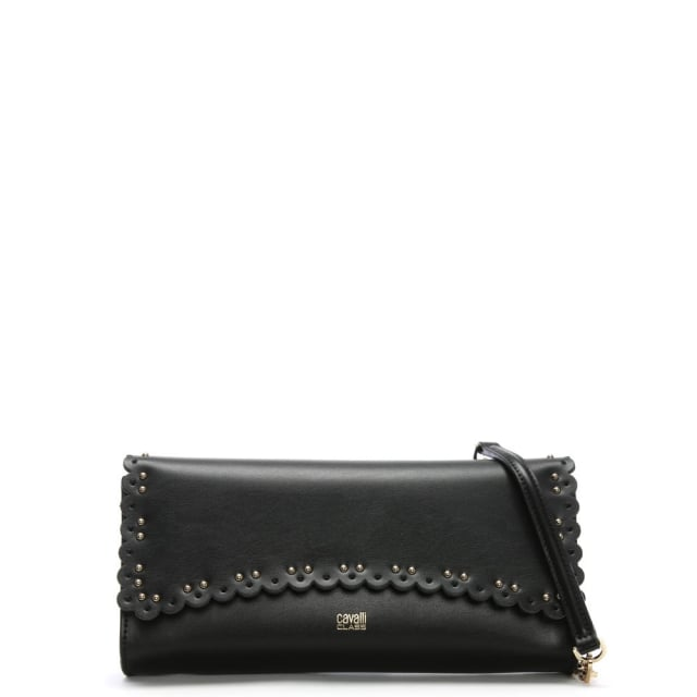 Cavalli Class Leo Lace Black Leather Clutch Bag