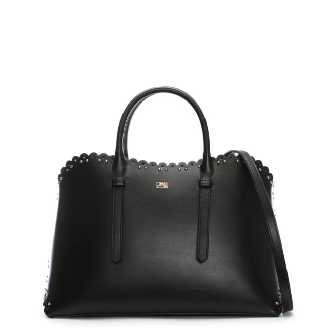 Cavalli Class Leo Lace Black Leather Tote Bag