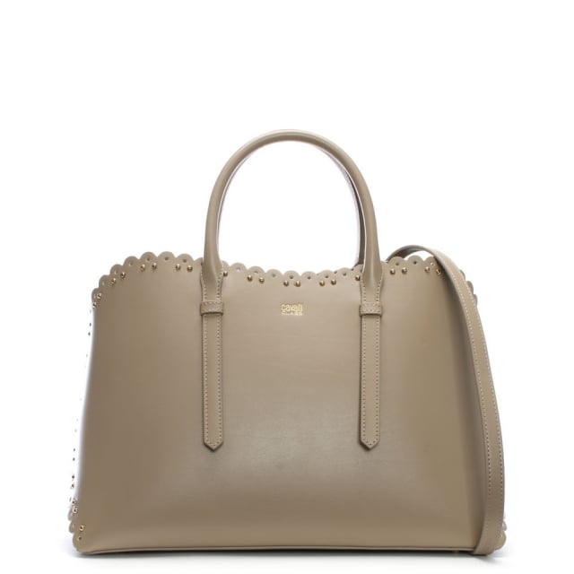 Cavalli Class Leo Lace Taupe Leather Tote Bag