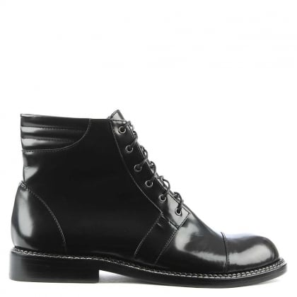 Leon Patent Black Leather Lace Up Ankle Boot