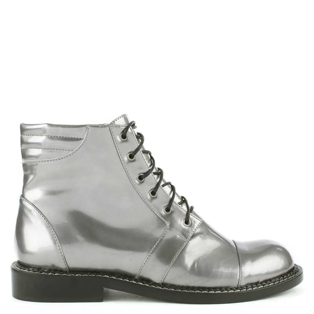 Leon Patent Silver Leather Lace Up Ankle Boot