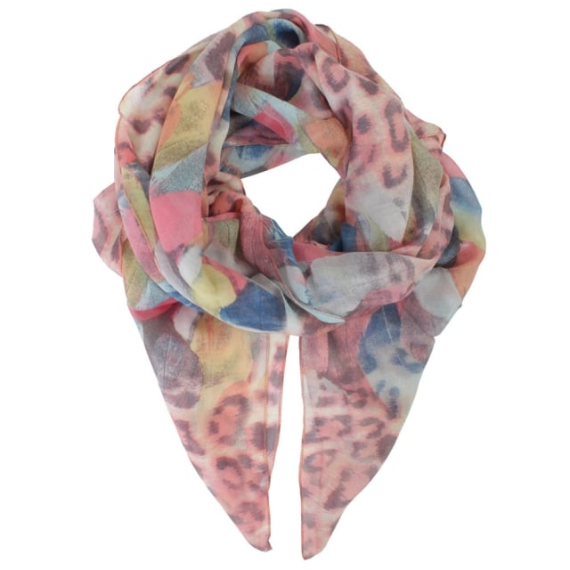 Leopard & Feather Pink Scarf
