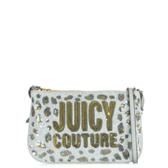 Leopard Grey Fabric Glitter Cross-Body Bag
