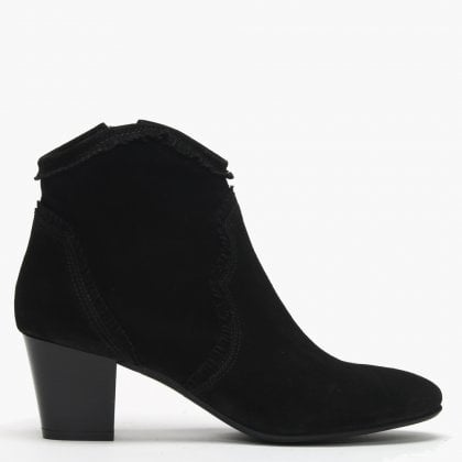 2cde2ff6bb05c Lesma Black Suede Western Ankle Boots