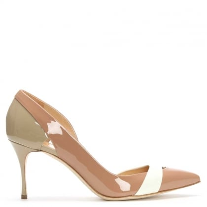 Sergio Rossi Lexington Nude Patent Cut Away Court Shoe