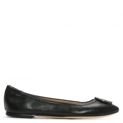 Liana Black Leather Ballet Flats