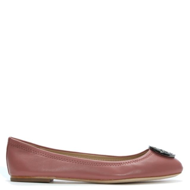 Tory Burch Liana Pink Leather Ballet Flats