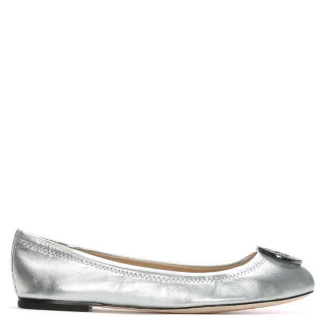Tory Burch Liana Silver Metallic Leather Ballet Flats