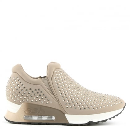 Lifting Taupe Neoprene & Gemstone Trainers