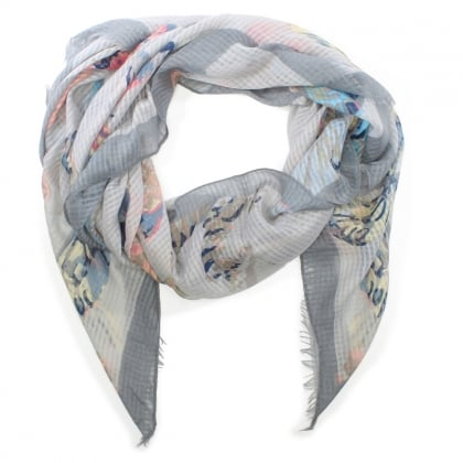 Light Weight Grey Butterfly Print Scarf