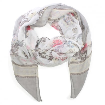Light Weight Grey Floral Scarf