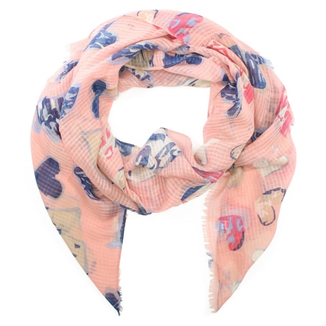 Light Weight Pink Heart Print Scarf