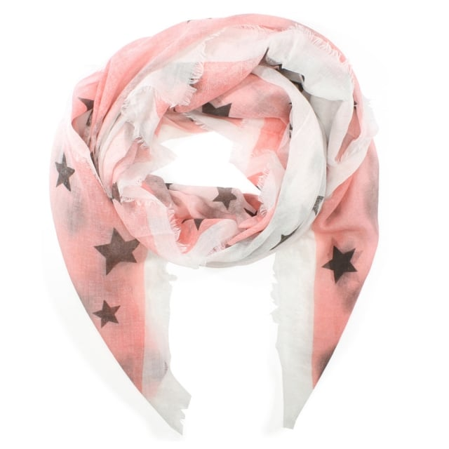 Light Weight Pink Star Print Scarf