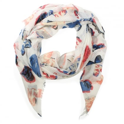 Light Weight White Heart Print Scarf
