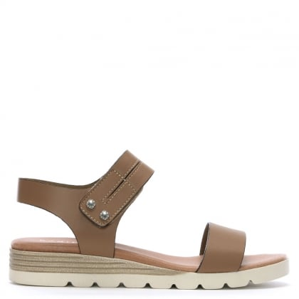 Likely Beige Leather Low Wedge Sandals