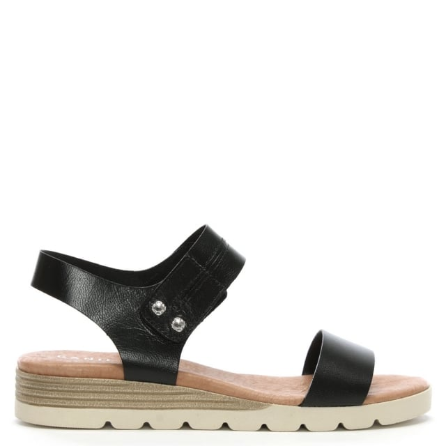 Daniel Likely Black Leather Low Wedge Sandals