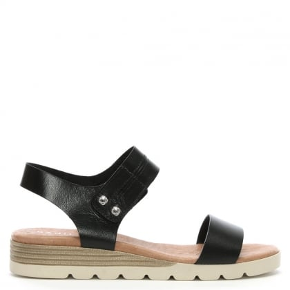 Likely Black Leather Low Wedge Sandals