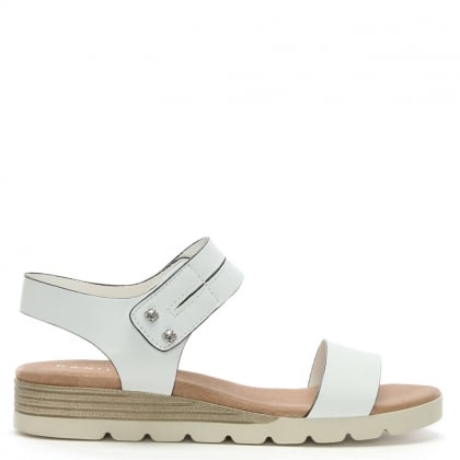 Likely White Leather Low Wedge Sandals