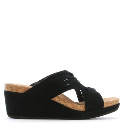 Lilah Black Suede Criss Cross Wedge Sandals
