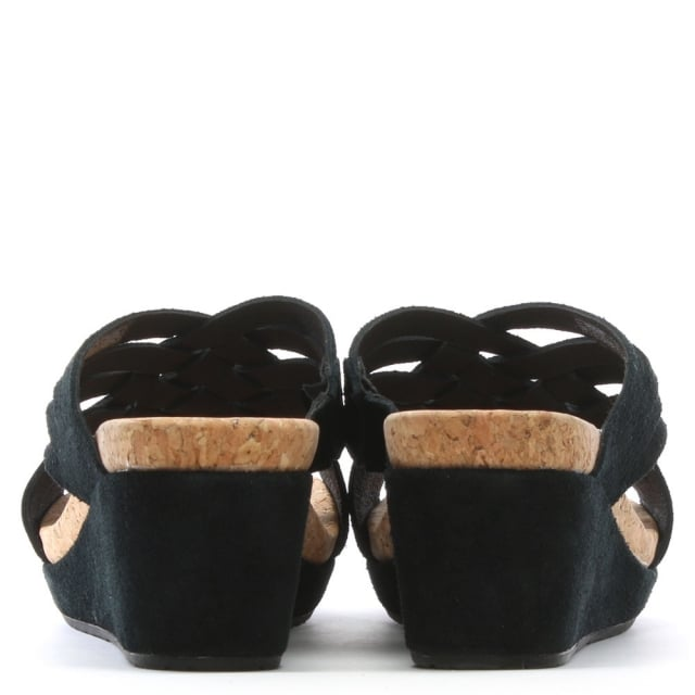 c4a4754999 UGG Lilah Black Suede Criss Cross Wedge Sandals