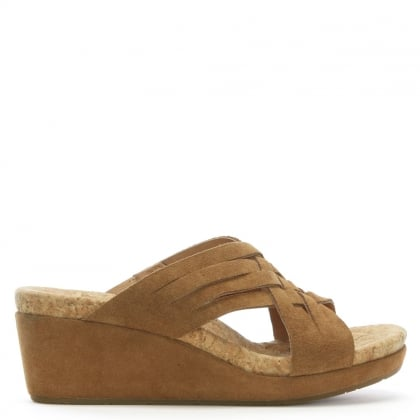 Lilah Chestnut Suede Criss Cross Wedge Sandals
