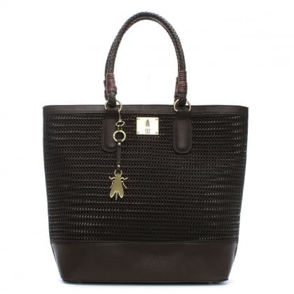 Lile Dark Brown Woven Shopper Bag