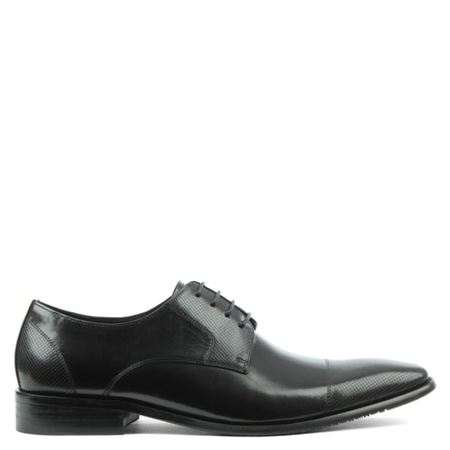 Limington Black Leather Diamond Embossed Lace Up Shoe