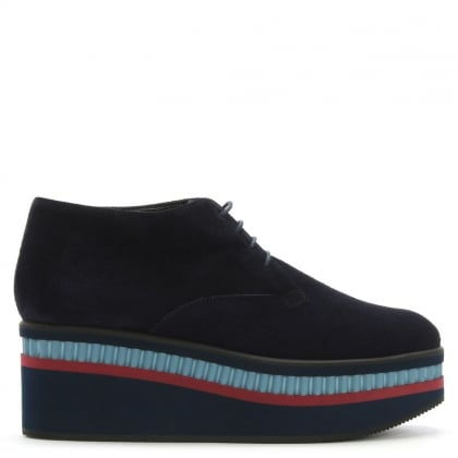 Limmy Navy Suede Flatform Ankle Boots