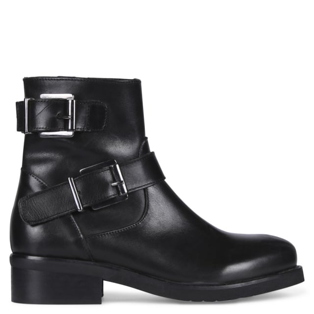 Limpet Black Leather Biker Boots