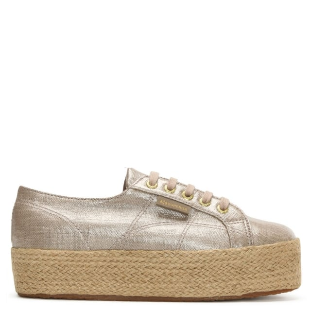 Linbropew Beige Coated Canvas Flatform Espadrille