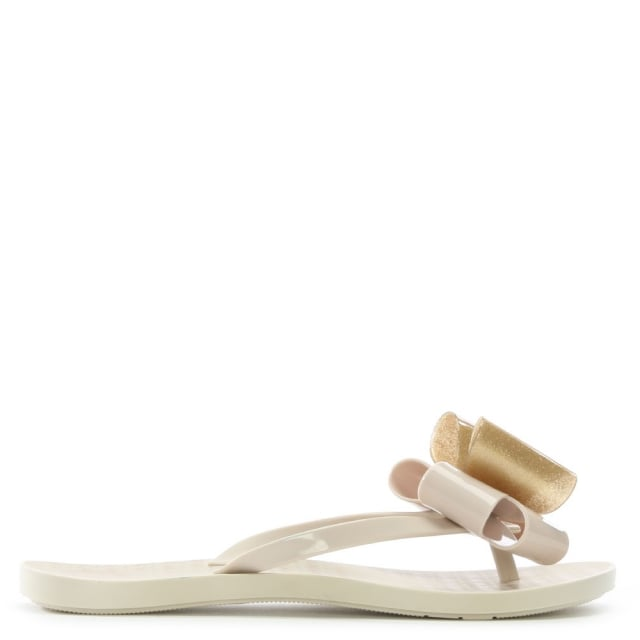 Link Twin Bow Beige Rubber Toe Post Flip Flops
