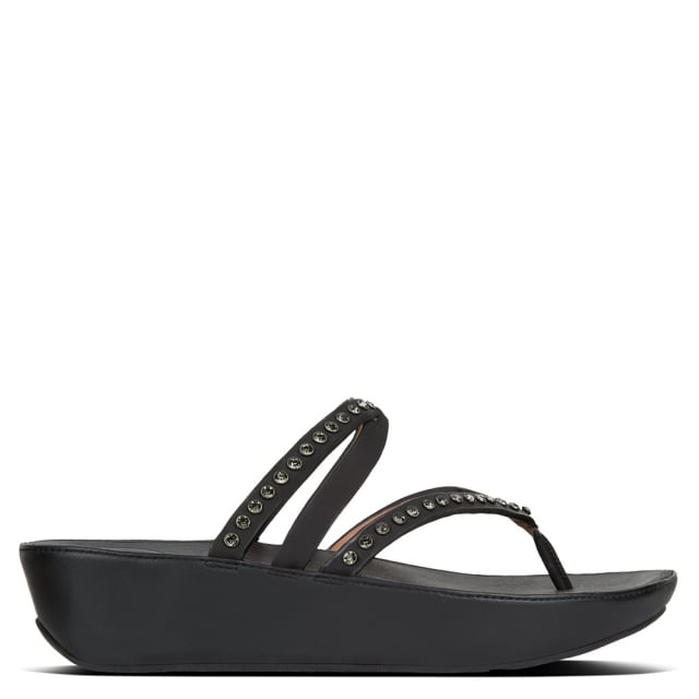 0ebf33e5af0d FitFlop Linny Criss Cross Black Leather Crystal Toe Post Sandals