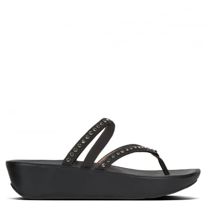 Linny Criss Cross Black Leather Crystal Toe Post Sandals
