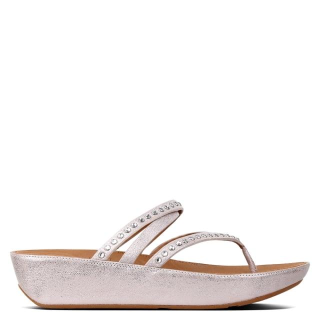linny criss cross blush metallic nude leather crystal toe post sandals