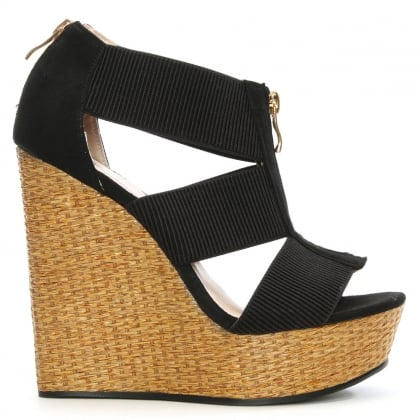 Linstead Black Zip Front Woven Wedge Sandal