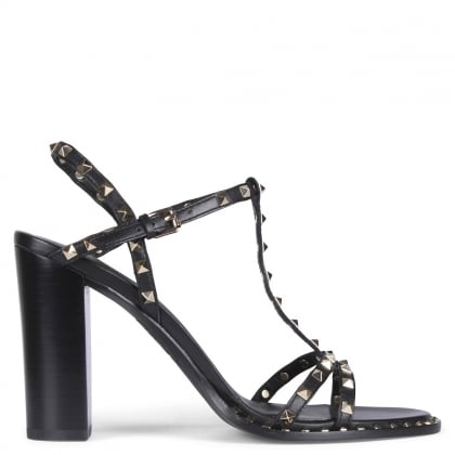 Lips Black Leather Studded Sandals